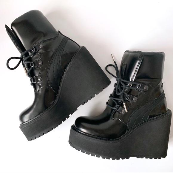outlet store d1715 b9ac1 RIHANNA FENTY X PUMA Platform Wedge Boots